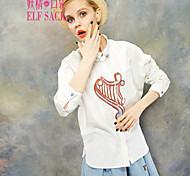 ELFSACK Femme Col de Chemise Manche Longues Shirt et Chemisier Blanc / Rose - 1514072