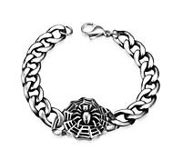 Maya Generous Personality Spider Web Men Stainless Steel Chain & Link Bracelets(Black)(1Pcs)