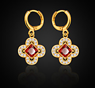 Flower Shaped Simulated Diamond Earrings Red Ruby New 18K Gold Plated Cubic Zirconia Earrings Wholesale E10120