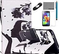 Funda de piel de coco patrón florista Fun® de la PU con el cable USB flim v8 y un punzón para Samsung Galaxy S4 / S4 Mini / S5 / mini-s5