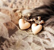 Women's Fashion Korean Style Metal Rhinestone Crown Cute Love Shape Stud Earrings