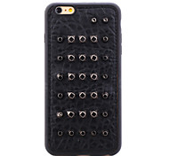 Rivet Leather Series Black Round-Dots TPU Soft Back Cover for iPhone 6/6S