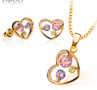 Pendants Necklaces Earrings Set For Women 18K Gold Plated Austrian crystal Zircon Fashion Heart Jewelry Sets S20104