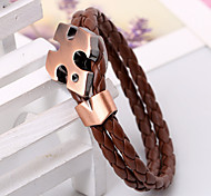 Red Bronze Cross Double Layers Leather Wire Bracelets