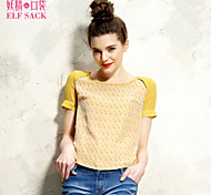 ELFSACK Women's Round Neck Short Sleeve T Shirt Yellow - 1314077