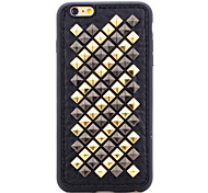 Rivet Leather Series Black-Golden Diamonds TPU Soft Back Cover for iPhone 5/5S