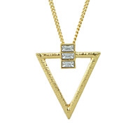 Fashion Gold Silver Plated Triangle Pendant Necklace