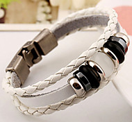 Acylic Beads Triple Layer White Leather Casual Bracelets