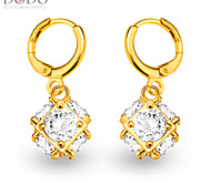 Square Ball Big Crystal Drop Earrings Jewelry 18K Gold Plated White Simulated Diamond Drop Earrings for Women E10126