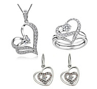 Jewelry Set Classic Elegant Crystal Unique Design Heart Pendant Necklace Earrings Ring Girlfriend Gift