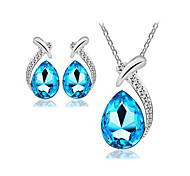 Jewelry Set Classic Elegant Crystal Unique Design Water Drop Pendant Necklace Earrings Girlfriend Gift