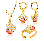 Lucky Jewelry Set Women Party Gift 18K Gold Plated Luxury Zircon Crystal Necklace Earrings Ring Jewelry Sets S20055