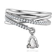 Anel Feminino Multilayer Cross Wedding Crystal Water Drop Ring Anillos Mujer Fine Jewelry Zircon Rings For Women