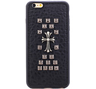Rivet Leather Series Black Cross TPU Soft Back Cover for iPhone 6/6S