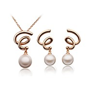 Jewelry Set Elegant Imitation Pearl Pendant Necklace Earring Girlfriend Gift
