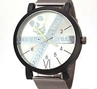 Men's Fashion Dial Black Steel Band Quartz Wristwatch