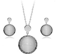Whole Sale Crystal Jewelry Set Elegant Unique Crystal Design Round Pendant Necklace Earrings Ring Girlfriend Gift