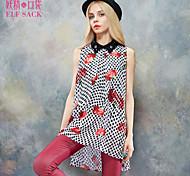 ELFSACK Femme Col de Chemise Sans Manches Shirt et Chemisier Rouge / Jaune - 1514133