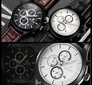 SKONE CHRONOGRAPH & 24 Hours Function Men Sport Watch Genuine Leather Luxury Watch Men Military Watch