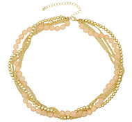 Fashionable Gold Plated Chain Braided Small Beads Necklace