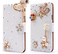 Luxury Stand Flip Litchi Leather Diamond Bowknot Flower Wallet Case For Apple iPhone 5/5S Handmade Cover