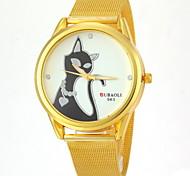 Couple's Cat Design Gold Alloy Band Quartz Wristwatch