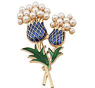 les femmes de la mode à la mode perle émail ensemble ananas Broche