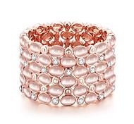 Bracelet - en Rose Plaqué Or / Pierre Précieuse & Cristal / Diamant - Soirée - Elastique