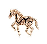 Korean High-grade Jewelry Full Shining With White Rhinestone Retro Cute Horse Brooches Free Shipping