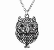 Vintage Owl Alloy Pendant Necklace