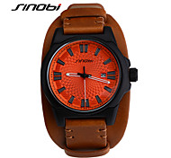 SINOBI® Men's Casual Watch Leather Band Fashion Wrist Watch Brown Waterproof Quartz Watches Males Outdoor Automatic Wristwatch Cool Watch Unique Watch