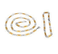 MEN's Stainless Steel 5mm Gold and Silver Link Chain Necklace + Bracelet Set