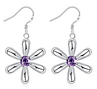 Purple Crystal Flower Dangle Earrings Ladies Silver Plated Drop Earring(Color:Silver)