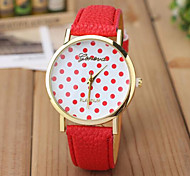 Unisex Fashion Watch Color Polka Dot PU Leather Quartz Watches In Geneva Cool Watches Unique Watches