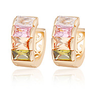 Allergy Free Gold Plated Women Stud Earrings European Style Luxury Zircon Insert Multicolor Hoop Earrings