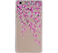 flor de pêssego padrão de relevo fino caixa do telefone material de TPU para p8 Huawei Lite
