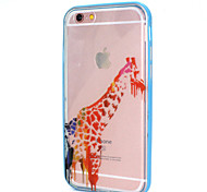 Graffiti Giraffe Design LED Flicker Back Cover+Bumper Cover for IPhone 6/6S