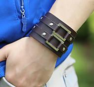 Vintage Men's Wide Leather Bracelets