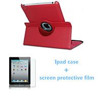 2016 venda quente caso cor sólida pu couro origami e tela de película protetora para iPad mini-4