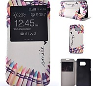Love Pencil Painted PU Phone Case for Galaxy S7/S7edge/S7 Plus