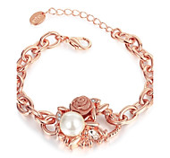 Fashion Sweet Women's Rose Imitation Pearl Rhinestone Rose Gold Plated Tin Alloy Chain & Link Bracelet(Rose Gold)(1Pc)