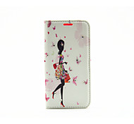 Walking Girl Diamond Painted Bracket PU Case For Samsung Galaxy S7 / Galaxy S7 edge