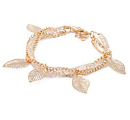 Korea Gold Crystal Mesh Bracelet Hollow Leaves