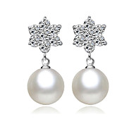 Lureme®  Korean Fashion 925  Sterling Silver  Crystal Pearl   Snowflake Earrings