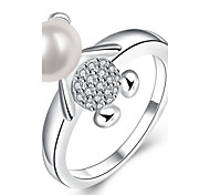 Lovely Mini Bear Lady Silver Plated Ring Midi Rings Party / Daily 1pc