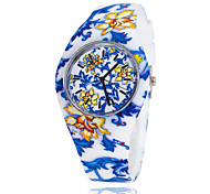 Women's Fashion Hot Silicone Colorful Flower Print Casual Watches