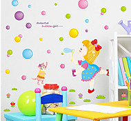 Cartoon Girl Blowing Bubbles Wall Stickers