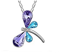 Women Necklace ELegant Crystal Dragonfly Pendant Necklace