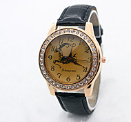 Women's  Fashion  Simplicity  Rhinestone Scriptures Quartz  Leather Lady Watch Cool Watches Unique Watches