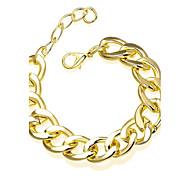 Simple Generous Women's Gold Plated Revolve Chain & Link Bracele(Gold)(1Pc)